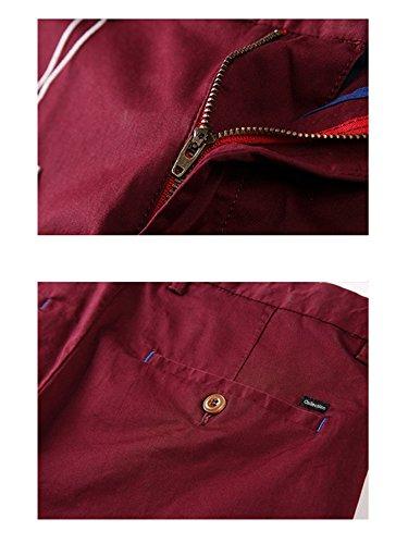 Homme pantalon chino slim fit effet lavé tissu fin coton pour l'été Vinrouge