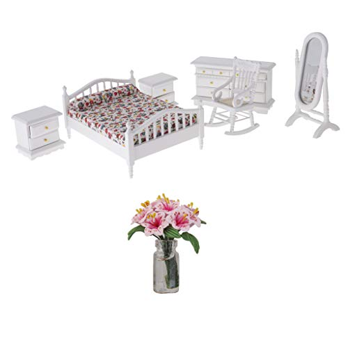 P Prettyia 7 Stück Puppenhaus Miniatur Schlafzimmer Möbel mit Lilie Blume Satz für 1:12 Puppenstube Dekoration Zubehör -