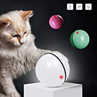 Catkoo Interactive Cat Toys,Ball Toys USB Charging LED Exercise Toy, 360 Degree Auto-Rotating Ball, Built-in Rechargeable Battery with Detachable Green
