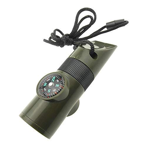 527BL Outil de Survie Multifonction pour Champ Vert armée Sifflet Boussole Thermomètre Réfléchissant Signal Miroir Loupe LED Lampe de Poche étanche Cabine avec Cordon en Nylon