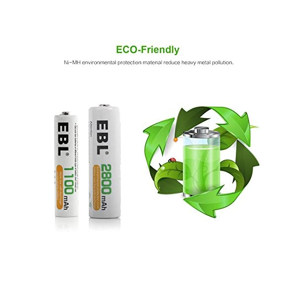 EBL Batteries with Charger, 808 AA AAA Battery Charger with 2800mAh AA Rechargeable Batteries (4 Pack) and 1100mAh AAA… 8