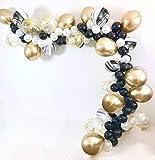 PuTwo Luftballons 70 Stück Party Ballons Latex Luftballons Satz von Chrom Ballons/ Marmor Ballons/ Konfetti Ballons/ Perlmutte Ballons Party Zubehör für Geburtstag Neujahr Party - Gold Weiß Schwarz