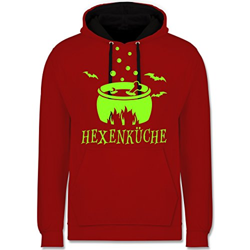 Küche - Hexenküche - Kontrast Hoodie Rot/Schwarz