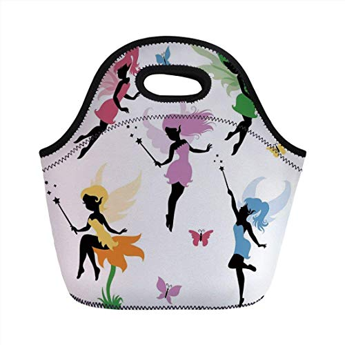 Portable Bento Lunch Bag,Fantasy,Cute Pixie Spirit Elf Fairies Flying with Butterflies Girls Princess Flowers Design,Multicolor,for Kids Adult Thermal Insulated Tote Bags (Princess Party-goody Bags)