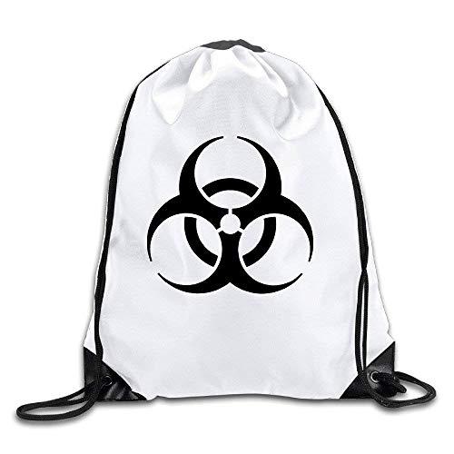 Liumiang Turnbeutel,Sporttaschen,Eco-Friendly Pirnt BYDHX Resident Evil Biohazard Symbol Logo Exotic Drawstring Backpack Bag White