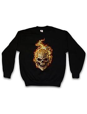 Burning Skull II Sweatshirt – Cráneo Dead Tattoo Art Rockabilly Skeleton Roses Artist Flash Death Reaper Bones...