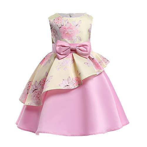 Riou Weihnachtskleid Mädchen Prinzessin Spitzenkleid Lang Ärmellos Weihnachten -