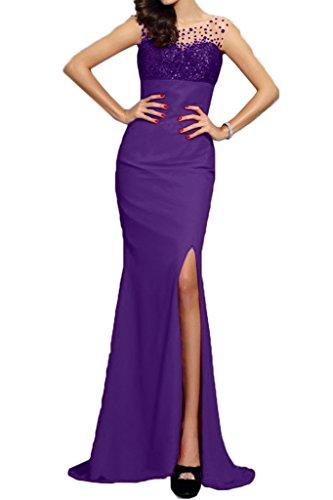 ivyd ressing Femme Moderne Mermaid fente Paillette Lave-vaisselle robe Party Prom robe Violet