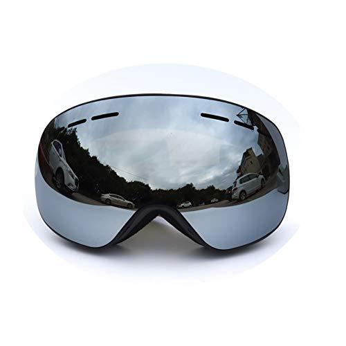 Epinki Erwachsene TPU+PC Snowboardbrille Skibrille Zweilagige Anti-Fog PC Objektiv Snowboard Brille (Cocker Myopie Brille) für Skifahren Schneemobil Skaten, Schwarz Silber