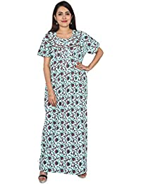 Nighty House Womens Cotton Full Length Nightgown with Double Stitches and  overlock c19a725cf