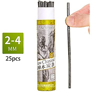 Baumwollweiden-Skizze Holzkohle-Stifte zum Zeichnen 25 St/ück Holzkohle-Sticks 5-7 mm Durchmesser
