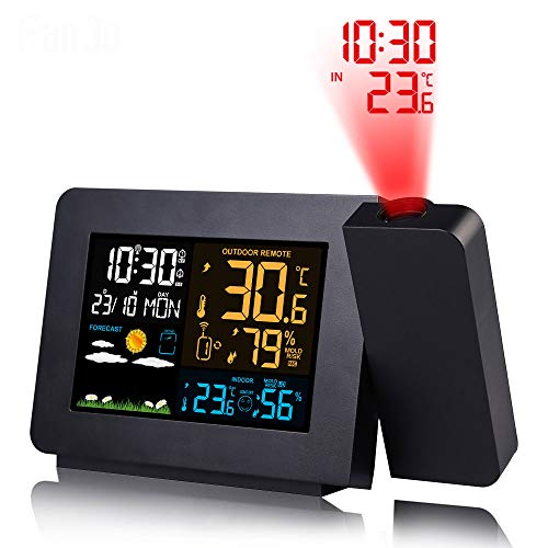 YHML Digitaler Projektionswecker Wetterstation, Alarm Projektionsuhr Thermometer Funk Hygrometer Wetterstation Uhr Digital Snooze Radio Design Tischuhr,Us