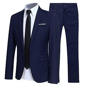 Traje de 2 piezas para hombre, ajuste delgado, para boda, cena, esmoquin para hombre, negocios, casual, chaqueta y pantalones, 10 colores disponibles