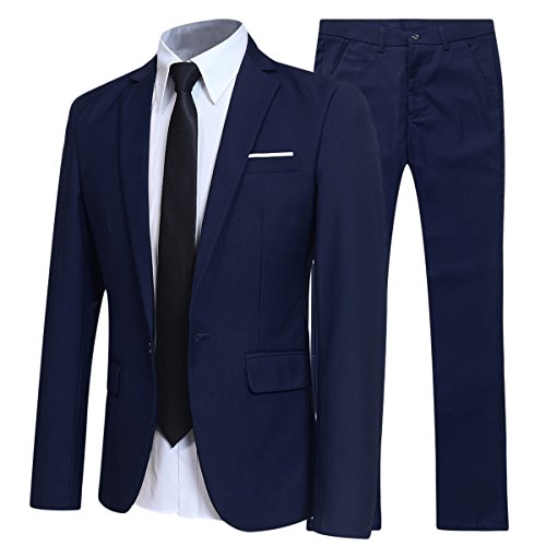 Allthemen Herren 2-Teilig Slim FIT Business Anzug Marineblau Small