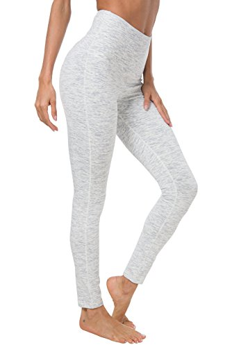 Taillen Yoga Leggings Hosen Trainings Strumpfhosen laufen Farbe Space Dye Weiß Größe L(12 ()