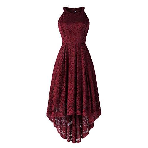 MAYOGO Vintage Elegant Kleid aus Spitze Damen Unregelmässig Vokuhila Kleid Vorne Kurz Hinten Lang,Kleid zur Hochzeit Gast/Brautjungfer,Langarm | Kurzarm | Ohne ärmel England Rosa Rose