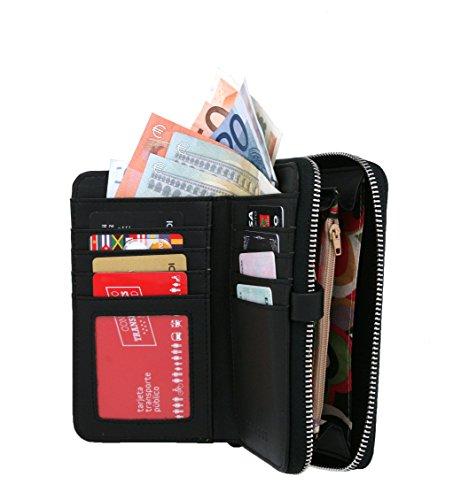 RFID borsa del portafoglio MENKAI disegno fiori Viola Nero 772F2 Black