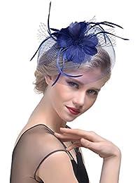 OHQ Sombreros para Mujeres Tocado De Plumas De Malla De Perla De La Malla De La Flor De Las Cintas Plumas Venda del Té del CóCtel Tea Party Headwear Encantador Y Elegante