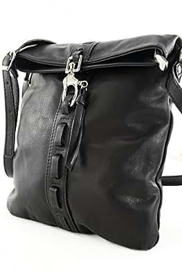 ital. Tasche Damentasche Handtasche Ledertasche Umhängetasche NAPPA LEDER Schwarz DS61S