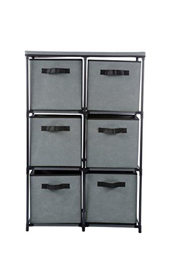 Home-Like Schublade Storage Unit Tower Organizer DIY Aufbewahrungsschrank Multi-Purpose Storage Brust Metall Regal mit Abnehmbaren Stoffkörbe Ideal für Home Office Schlafzimmer (6 Schublade-Grau) (Metall-brust Schubladen)