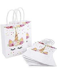 4a95aa8b2 Hailuo - 12 Bolsas de Papel de Color Blanco con diseño de Patatas Fritas,  Multiusos, para Regalar en Papel Kraft o…