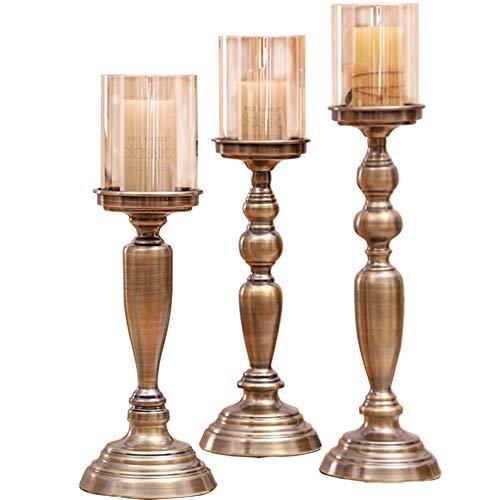 Chandeliers Bougeoir Ensemble de 3 bougeoirs, support de bougie, support de bougie en bronze avec verre brun, cadeau romantique pour la maison