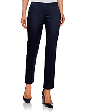 oodji Ultra Mujer Pantalones Recortados con Cintura Elástica