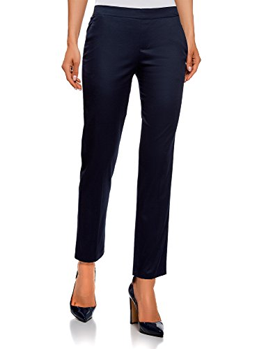 oodji Ultra Donna Pantaloni 7/8 con Cintura Elastica, Blu, IT 46 / EU 42 / L