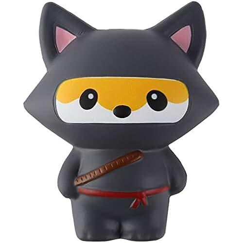juguetes kawaii Ninja Squishy Slow Rising Jumbo Kawaii Ninja Juguete Descompresión Juguete Suave Crema Perfumada Squeeze Toy por Kfnire (negro zorro)