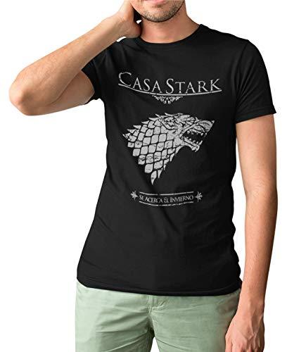 162-Camiseta Premium, Juego De Tronos Casa Stark (Negra,XL)