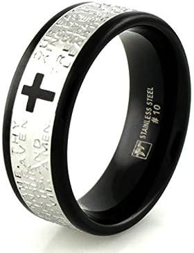 Zwei Ton Edelstahl Vaterunser Ring