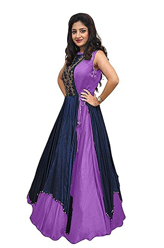 Dresses for women Western wear for party Designer Today offers buy online Low Price Sale Purple Color Banglori Silk Fabric Free Size Gown with jacket