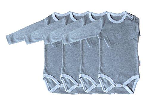 Langarm-Babybodys 4er Pack grau/weiss Grösse 68 Body Unisex aus 100% Baumwolle mit Druckknöpfen