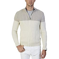 Nautica Mens Beige Cable Knit Ribbed Trim Full Zip Sweater (Large)