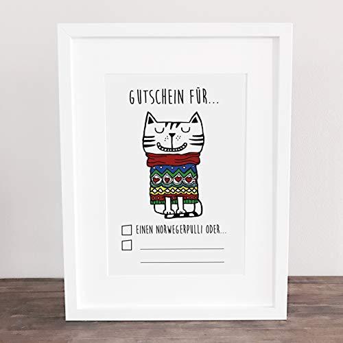 ld, Kunstdruck, Weihnachtsgeschenk, Gutschein, Katze, Cat, Xmas, Weihnachten