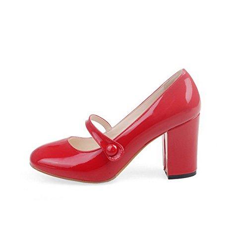 VogueZone009 Femme Pu Cuir Couleur Unie Boucle Rond à Talon Haut Chaussures Légeres Rouge