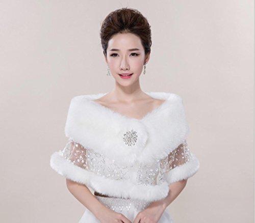 GYMNLJY ScialleAbito lana scialle abito cappotto spessore caldo bianco scialle da sposa