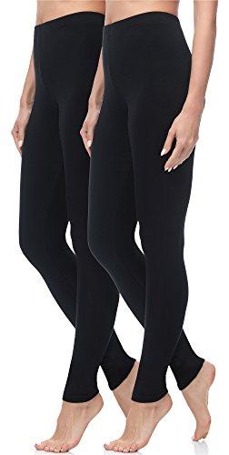Merry Style Damen Lange Leggings 2 Pack MS10-143 (Schwarz/Schwarz, XL (Herstellergröße: 42))