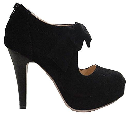 Großformat EUR35-EUR41 Vintage-Stil Frau kleine Fliege Plattformpumpen, ladys sexy hochhackige Schuhe, Brautschuhe für Schwarz