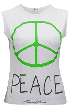 New Womens Neon Green Peace Logo and Text Vest Top Loose Fit S: 8-14 UK (M/L (12-14) UK)