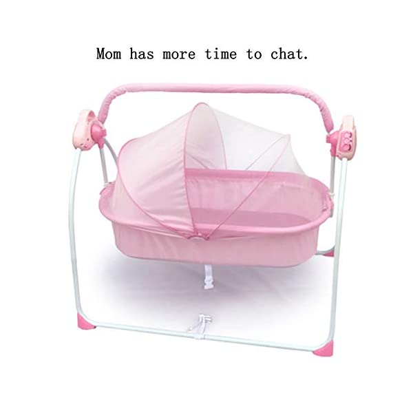 Mr.LQ Electric Shaker Electric Cradle Bed Baby Shake Bed Newborn Sleeping Intelligent Automatic Flat Lay Crib,Pink  ?Special design: Carefully design every detail to create a comfortable feeling for your baby. It is closer to the mother's arms. ?Safety: thick steel pipe, strong carrying capacity, anti-slip mat on the foot, ensuring the base is strong, will not damage the floor ?Additional features: 3-speed swing, 3-speed timing, 6 music, with mattress and mosquito net 4