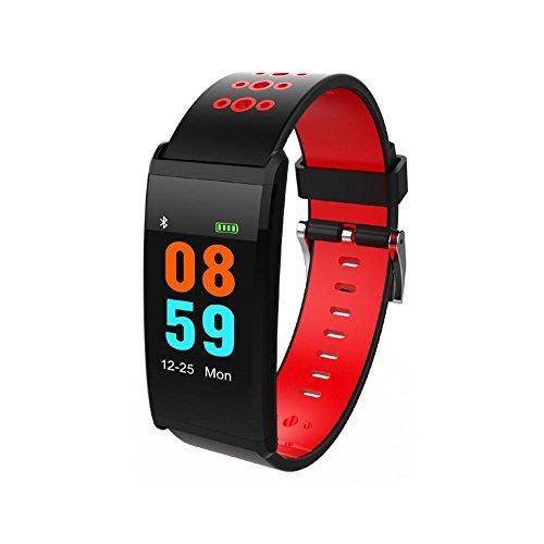 Teepao Fitness Activity Tracker Uhr mit Herzfrequenz Monitor, Blutdruck, Zählen, Kalorien Schrittzähler, IP68Wasserdicht Farbe LCD-Bildschirm Armband für Android und IOS Smartphones rot