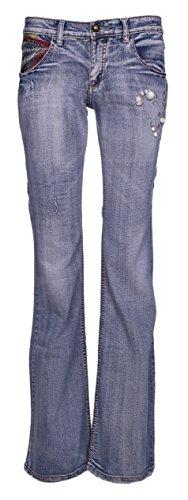 Donne Low Rise Bootcut Pantaloni Pantaloni Jeans da donna bagagliaio taglio elasticizzato Denim Lunghezza 33cm dimensioni 8101214 Blue 46