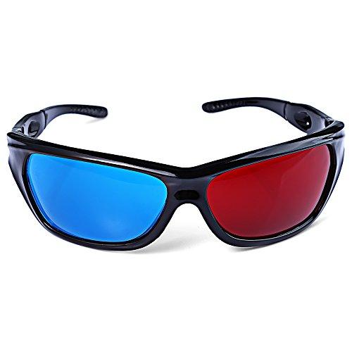 Fjiujin,Wunderbare Sonnenbrillen Rot + Blau Objektiv Runde 3D-Brille 3D Spiel 3D DVD Film(Color:BLAU UND ROT)
