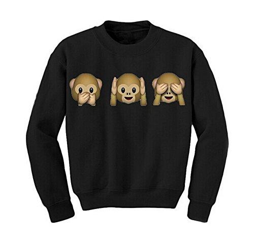 DELEY Fashion Damen Emoji Affen Print Langarm Pullover Shirt Tops Bluse Sweatshirt Schwarz XL