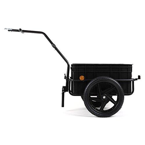 DURAMAXX Big-Mike • Fahrradanhänger • Lastenanhänger • Handwagen • mit Hochdeichsel • Transportbox mit 70 Liter Volumen • Tragkraft: max. 40 kg • Kugel-Kupplung für Fahrräder mit 26'' - 28'' • pulverbeschichteter Stahlrohrrahmen • schwarz - 2