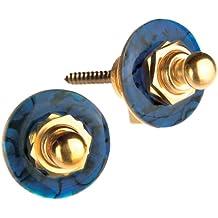 Q-Part QP SLG-1527 - Enganche de correa para guitarra, color azul y dorado