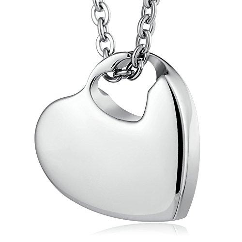 Beydodo Collar de Urna Pareja de Acero Inoxidable Familia Corazón Colgante de Ceniza Cadena Collar de Plata
