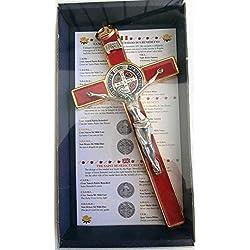 GTBITALY 10.004.21Red Croix Or Rouge San Benedetto 20cm émaillée avec boîte Box Gift Saint Benedict esorcismo prêtre esorcista prêtre Nonne église