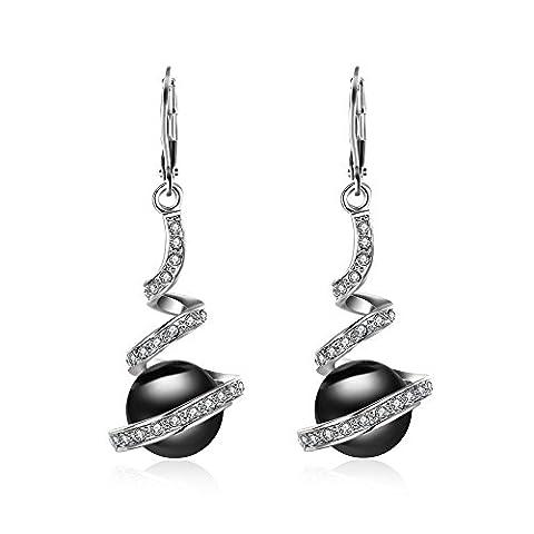 BODYA Women's Classic Platinum Plated Earrings black Pearl Crystal Rhinestone Dangles Drop Bridal Earrings